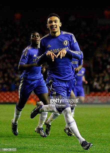 Alex Kiwomya of Chelsea celebrates after scoring the opening goal during the FA Youth Cup semi final first leg match between Liverpool and Chelsea at...