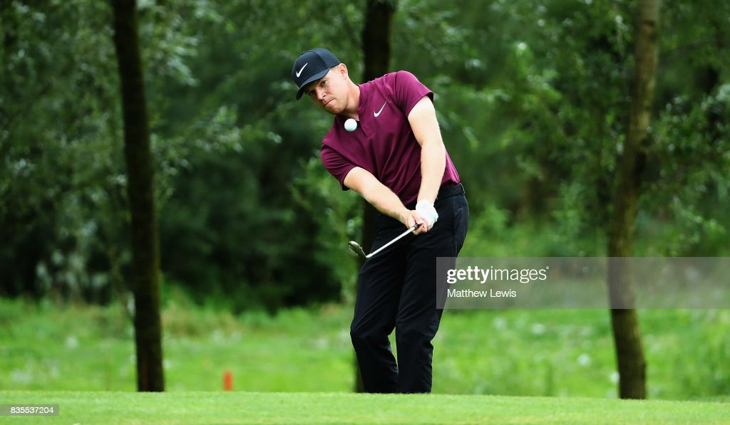 Alex Knappe of Germany chips onto the 16th green during day three of the Saltire Energy Paul Lawrie Matchplay at Golf Resort Bad Griesbach on August 19, 2017 in Passau, Germany.