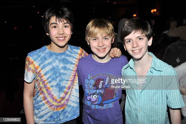 Alex Ko Joseph Harrington and Peter Mazurowski attend the celebration of the 1000th performance of 'Billy Elliot' on Broadway at Imperial Theatre on...