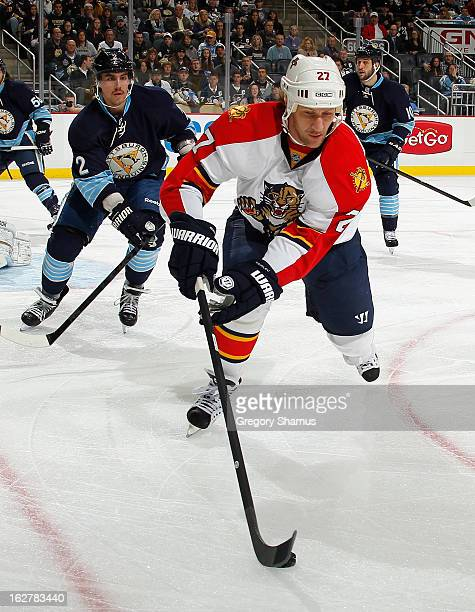Alex Kovalev of the Florida Panthers controls the puck in front of Matt Niskanen of the Pittsburgh Penguins on February 22 2013 at Consol Energy...
