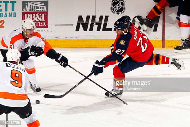 Alex Kovalev of the Florida Panthers shoots against Kurtis Foster of the Philadelphia Flyers at the BBT Center on January 26 2013 in Sunrise Florida