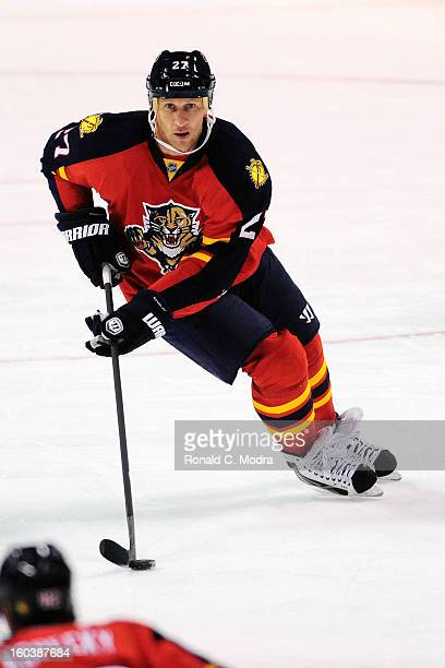 Alex Kovalev of the Florida Panthers skates with the puck during a NHL game against the Philadelphia Flyers at the BBT Center on January 26 2013 in...
