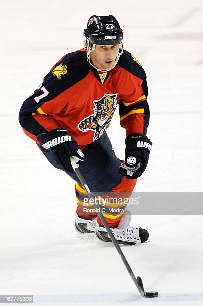 Alex Kovalev of the Florida Panthers skates with the puck during a NHL game against the Toronto Maple Leafs at the BBT Center on February 18 2013 in...