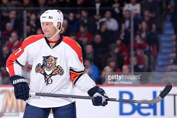 Alex Kovalev of the Florida Panthers waits for a faceoff during the NHL game against the Montreal Canadiens at the Bell Centre on January 22 2013 in...
