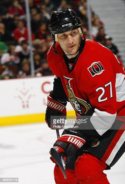 Alex Kovalev of the Ottawa Senators skates during a game against the Chicago Blackhawks at Scotiabank Place on January 19 2010 in Ottawa Canada The...