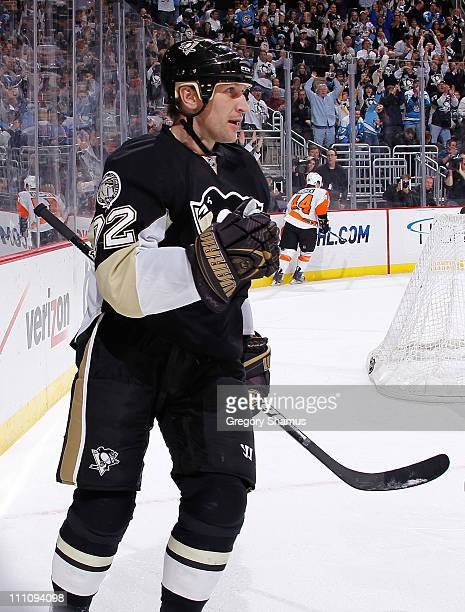 Alex Kovalev of the Pittsburgh Penguins celebrates his goal against the Philadelphia Flyers on March 29 2011 at Consol Energy Center in Pittsburgh...