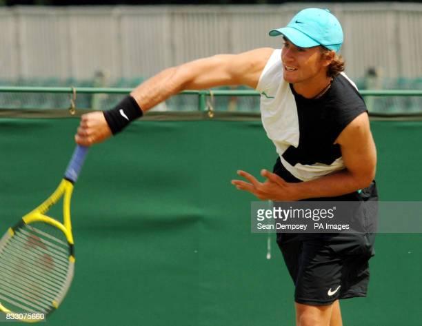 USA Alex Kuznetsov during the Men's Double Final of the Surbiton Trophy tournament at Surbiton Racket and Fitness Club Surrey