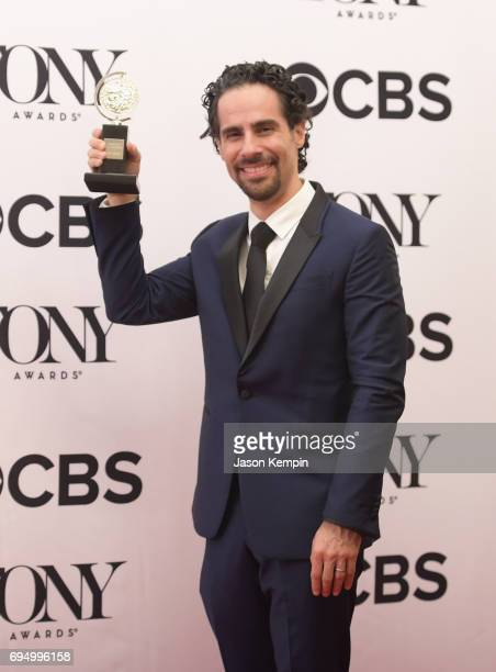 "Alex Lacamoire winner of the award for Best Orchestrations for ""Dear Evan Hansen"" poses in the press room during the 2017 Tony Awards at 3 West Club..."
