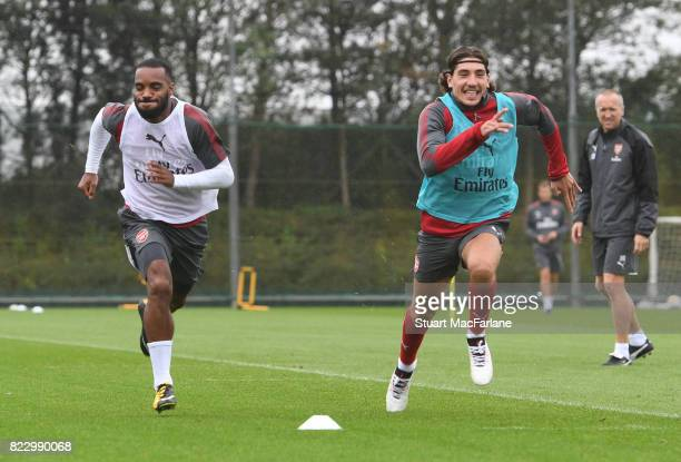 Alex Lacazette and Hector Bellerin of Arsenal during a training session at London Colney on July 26 2017 in St Albans England