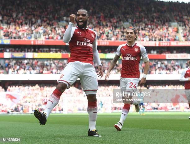 Alex Lacazette celebrates scoring the 1st Arsenal goal during the Premier League match between Arsenal and AFC Bournemouth at Emirates Stadium on...