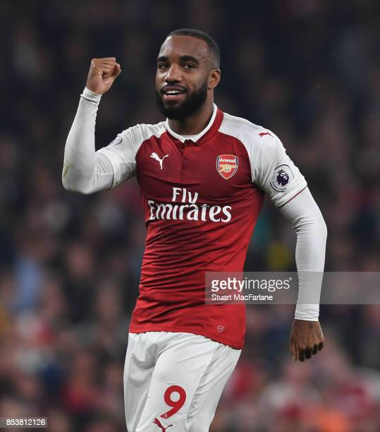 Alex Lacazette celebrates scoring the 2nd Arsenal goal during the Premier League match between Arsenal and West Bromwich Albion at Emirates Stadium...