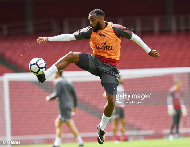 Alex Lacazette of Arsenal during a training session at Emirates Stadium on August 3 2017 in London England