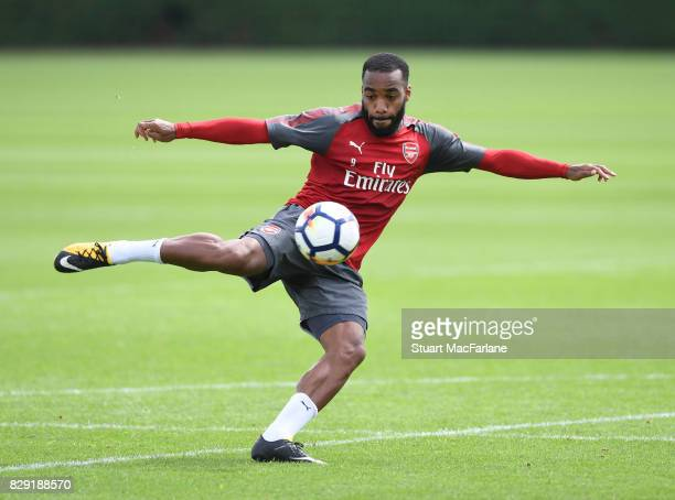 Alex Lacazette of Arsenal during a training session at London Colney on August 10 2017 in St Albans England