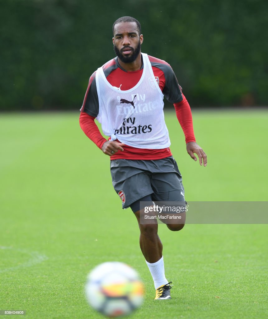 Alex Lacazette of Arsenal during a training session at London Colney on August 24, 2017 in St Albans, England.