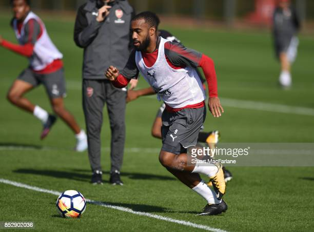 Alex Lacazette of Arsenal during a training session at London Colney on September 24 2017 in St Albans England