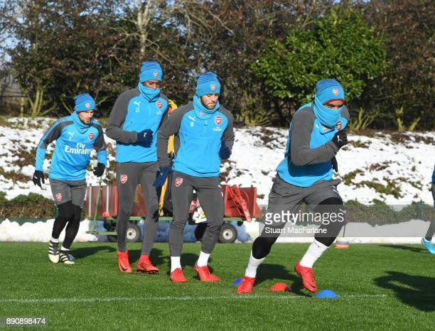 Alex Lacazette of Arsenal during a training session at London Colney on December 12 2017 in St Albans England