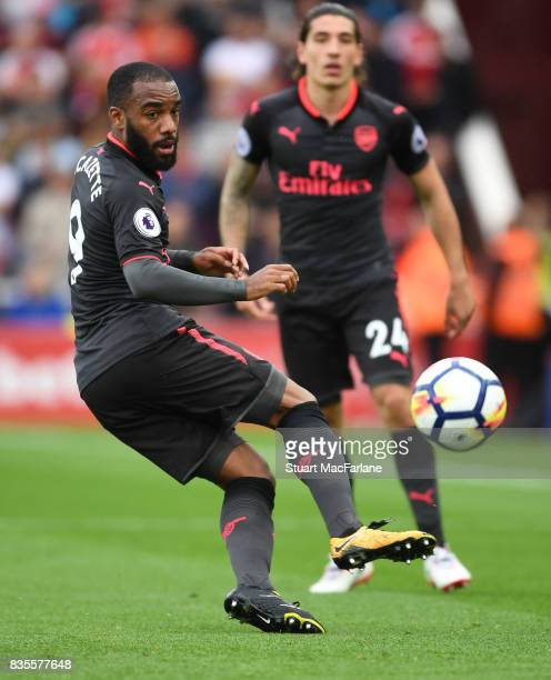 Alex Lacazette of Arsenal during the Premier League match between Stoke City and Arsenal at Bet365 Stadium on August 19 2017 in Stoke on Trent England