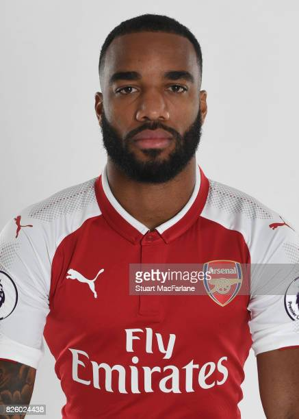 Alex Lacazette of Arsenal poses in a first team photocall at Emirates Stadium on August 3 2017 in London England