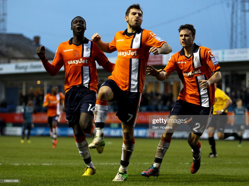 Alex Lawless of Luton celebrates after scoring the opening goal of the game during the FA Cup with Budweiser Third Round match between Luton Town and Wolverhampton Wanderers at Kenilworth Road on January 5, 2013 in Luton, England.