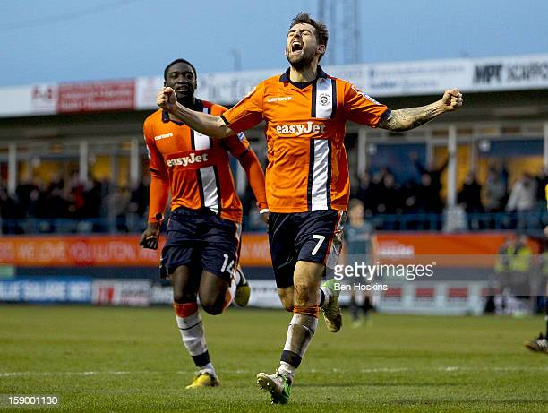 Alex Lawless of Luton celebrates after scoring the opening goal of the game during the FA Cup with Budweiser Third Round match between Luton Town and...