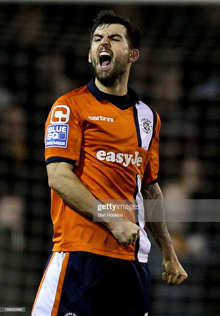 Alex Lawless of Luton celebrates after the final whistle during the FA Cup with Budweiser Third Round match between Luton Town and Wolverhampton Wanderers at Kenilworth Road on January 5, 2013 in Luton, England.