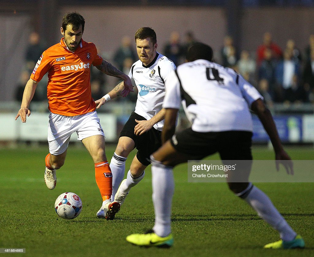 Alex Lawless of Luton looks to attack during the Skrill Conference Premier match between Dartford and Luton Town at Princes Park on April 01, 2014 in Dartford, England,
