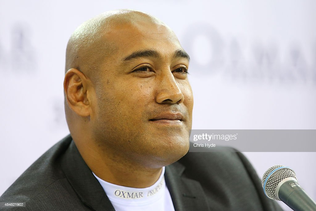 Alex Leapai of Australia speaks to media before a face off with Malik Scott of the USA before their October bout at the Brisbane Entertainment Centre on September 3, 2014 in Brisbane, Australia.