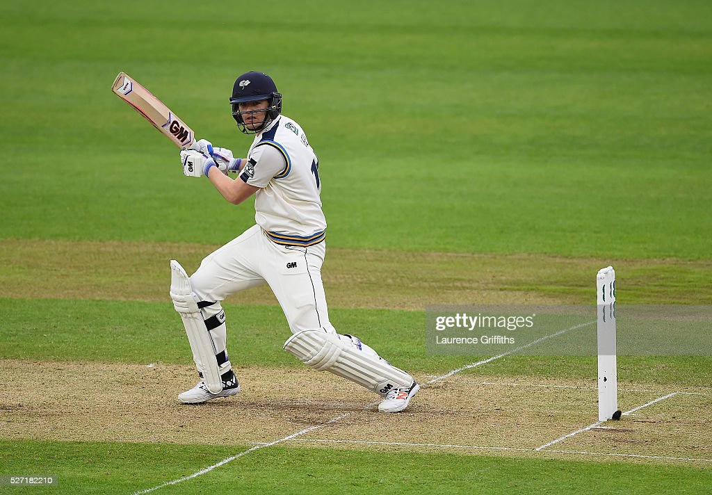 Alex Lees of Yorkshier hits out during the Specsavers County Championship Division One match between Nottinghamshire and Yorkshire at Trent Bridge on May 2, 2016 in Nottingham, England.