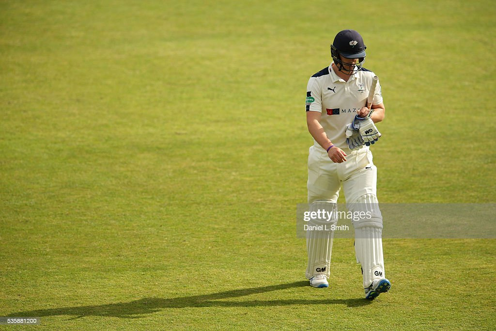 Alex Lees of Yorkshire departs the pitch during day two of the Specsavers County Championship: Division One match between Yorkshire and Lancashire at Headingley on May 30, 2016 in Leeds, England.