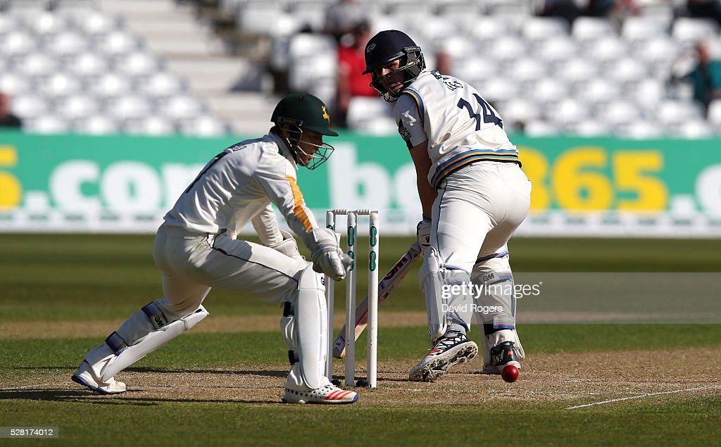 Alex Lees of Yorkshire escapes after being bowled during the Specsavers County Championship division one match between Nottinghamshire and Yorkshire at Trent Bridge on May 4, 2016 in Nottingham, England.