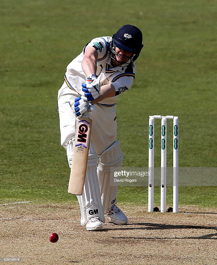 Alex Lees of Yorkshire plays the ball during the Specsavers County Championship division one match between Nottinghamshire and Yorkshire at Trent Bridge on May 4, 2016 in Nottingham, England.