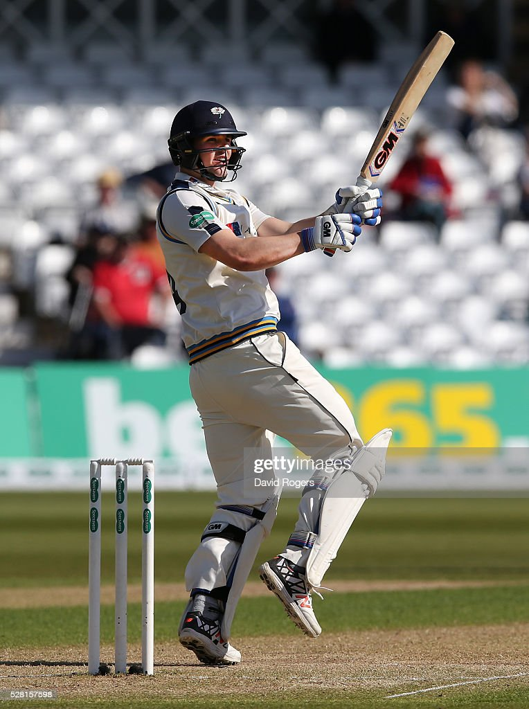 Alex Lees of Yorkshire pulls the ball for four runs during the Specsavers County Championship division one match between Nottinghamshire and Yorkshire at Trent Bridge on May 4, 2016 in Nottingham, England.