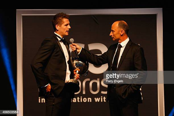 Alex Lees of Yorkshire speaks to Nasser Hussain after winning the PCA Young Player of the Year Award during The PCA Awards 2014 at The Old...