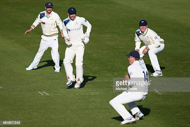 Alex Lees of Yorkshire watched by Adam Lyth Andrew Hodd and Gary Ballance takes a catch at leg slip to dismiss Chris Jones of Somerset off the...