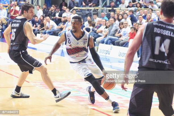 Alex Legion of Kontatto competes with Andrea Michelori and Guido Rosselli of Segafredo during the LegaBasket LNP of serie A2 match between Fortitudo...