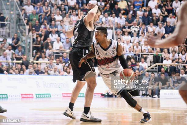 Alex Legion of Kontatto competes with Andrea Michelori of Segafredo during the LegaBasket LNP of serie A2 match between Fortitudo Kontatto Bologna...