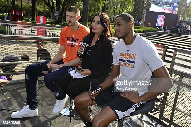 Alex Len and Brandon Knight of the Phoenix Suns talk to the media during a visit the NBA Fan Zone as part of NBA Global Games at Bosque de...