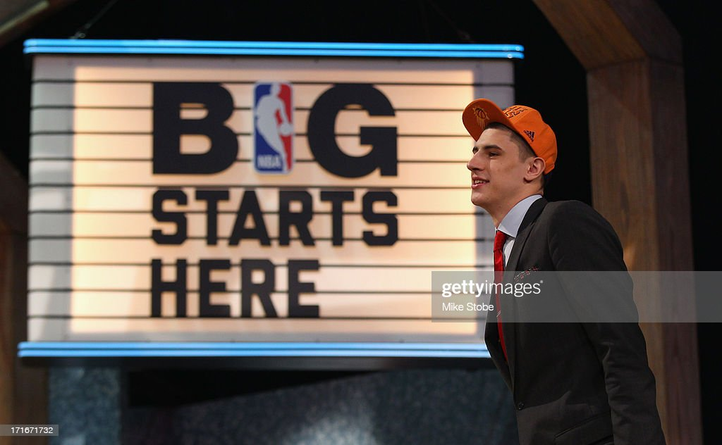 Alex Len of Maryland walks on stage after Len was drafted #5 overall in the first round by the Phoenix Suns during the 2013 NBA Draft at Barclays Center on June 27, 2013 in in the Brooklyn Bourough of New York City.