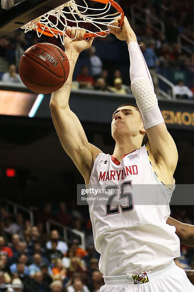 Alex Len #25 of the Maryland Terrapins dunks in the second half against the Wake Forest Demon Deacons during the first round of the Men's ACC Basketball Tournament at Greensboro Coliseum on March 14, 2013 in Greensboro, North Carolina.