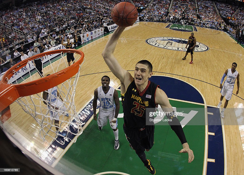 Alex Len #25 of the Maryland Terrapins goes up for a dunk against the North Carolina Tar Heels during the semifinals of the Men's ACC Basketball Tournament at Greensboro Coliseum on March 16, 2013 in Greensboro, North Carolina.