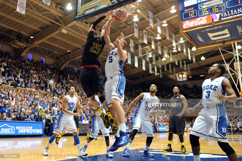 Alex Len #25 of the Maryland Terrapins goes up for a reverse dunk against Mason Plumlee #5 of the Duke Blue Devils at Cameron Indoor Stadium on January 26, 2013 in Durham, North Carolina. Duke defeated Maryland 84-64.