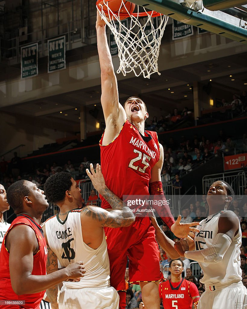 Alex Len #25 of the Maryland Terrapins scores against the Miami Hurricanes in second half action on January 13, 2013 at the BankUnited Center in Coral Gables, Florida. Miami defeated Maryland 54-47.