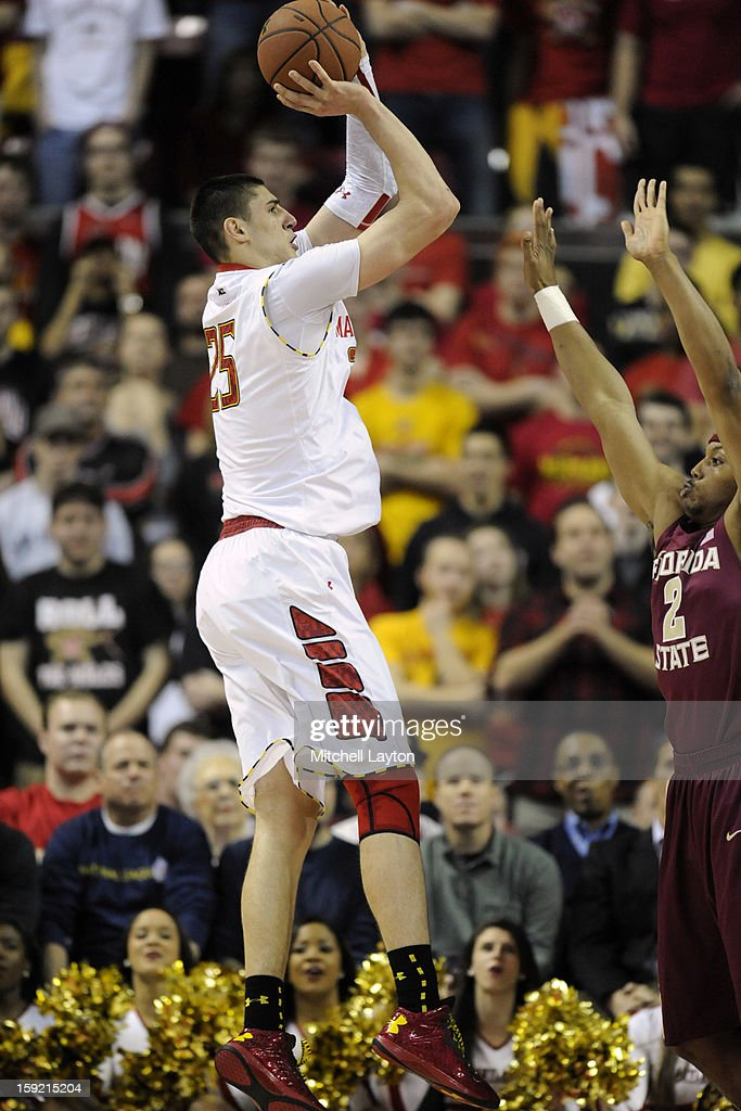 Alex Len #25 of the Maryland Terrapins takes a jump shot during a college basketball game against the Florida State Seminoles on January 9, 2013 at the Comcast Center in College Park, Maryland.