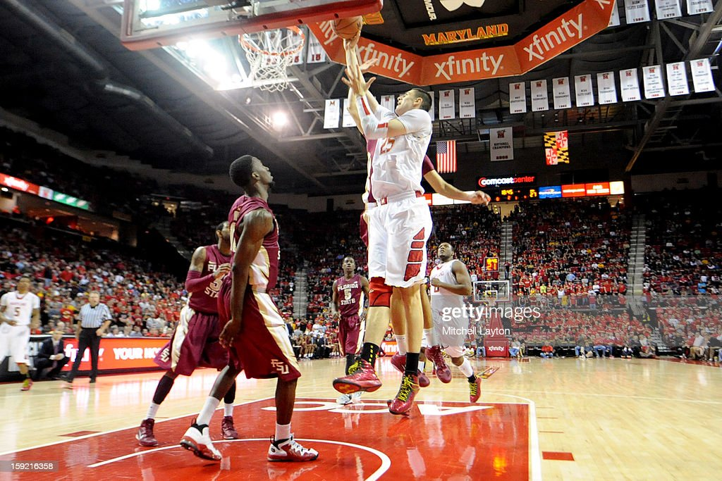 Alex Len #25 of the Maryland Terrapins takes a shot during a college basketball game against the Florida State Seminoles on January 9, 2013 at the Comcast Center in College Park, Maryland.
