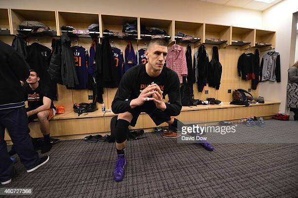Alex Len of the Phoenix Suns before the game against the New York Knicks on December 20 2014 at Madison Square Garden in New York City New York NOTE...