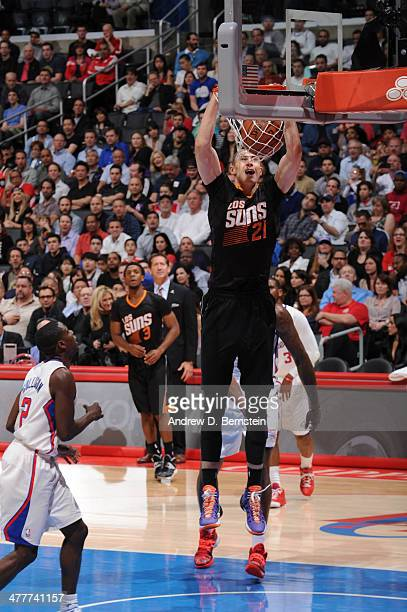 Alex Len of the Phoenix Suns dunks against the Los Angeles Clippers at Staples Center on March 10 2014 in Los Angeles California NOTE TO USER User...