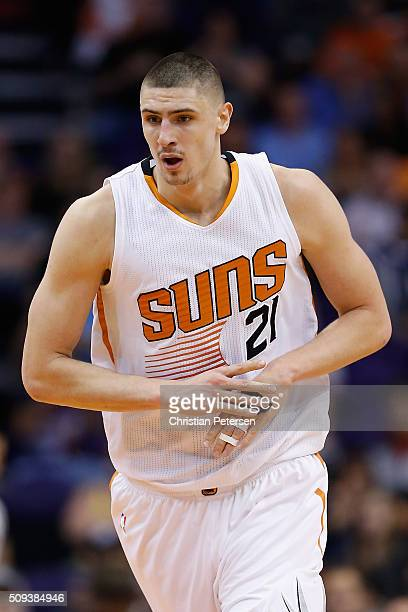 Alex Len of the Phoenix Suns during the NBA game against the Oklahoma City Thunder at Talking Stick Resort Arena on February 8 2016 in Phoenix...
