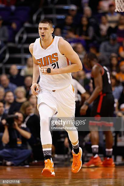 Alex Len of the Phoenix Suns during the NBA game against the Toronto Raptors at Talking Stick Resort Arena on February 2 2016 in Phoenix Arizona NOTE...