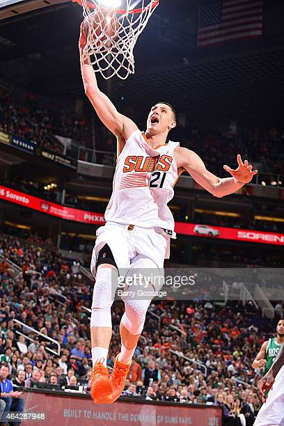 Alex Len of the Phoenix Suns goes up for a dunk against the Boston Celtics on February 23 2015 at US Airways Center in Phoenix Arizona NOTE TO USER...