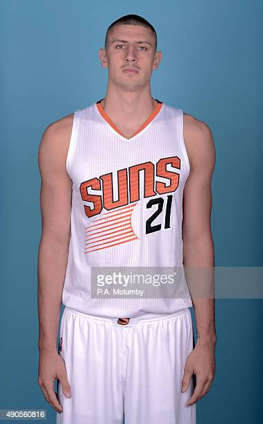 Alex Len of the Phoenix Suns poses for a portrait on Media Day on September 28 2015 at the Talking Stick Resort Arena in Phoenix Arizona NOTE TO USER...
